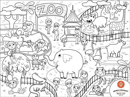 PRINCE LIONHEART Colour&Draw Zoo Set de Table à Colorier