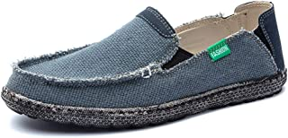 QinMei Zhou Driving Loafer for Men Boat Moccasins Slip On Style Mesh Material Personality Stitching Round Toe (Color : Blue, Size : 7.5 UK)