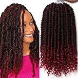 12 Inches 6 Packs Senegalese Spring Twist Hair with Curly Ends Short Ombre Crochet Hair Bounce Synthetic Crochet Braids (T1B-Burgundy)