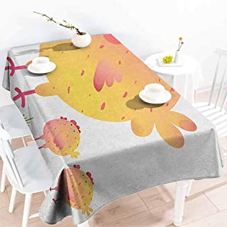 VICWOWONE Multi-Functional Long Tablecloth Chicken Mother Hen and Chicks Farm Animals Agriculture Family Theme Will not Fade W60 x L120 Dark Coral Pale Orange Yellow