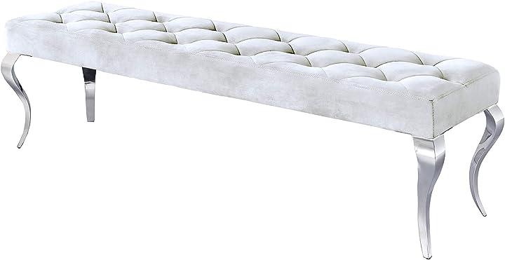 Panchina in stile barocco, in acciaio inox, 170 cm, colore: argento dunord design 39161