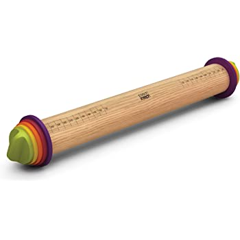 "Joseph Joseph Adjustable Rolling Pin with Removable Rings, 13.6"", Multi-Color"
