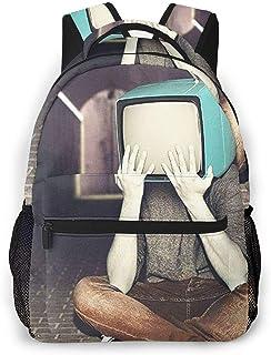 Mochila Tipo Casual Mochila Escolares Mochilas Estilo Impermeable para Viaje De Ordenador Portátil hasta 14 Pulgadas Art TV Head Hombre Retro