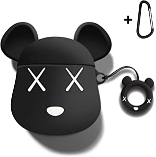MOLOVA 2019 AirPods Case 3D Cute Cartoon Bear Shock Proof Cover Compatiable with Apple AirPods Wireless Charging Case with Ring Rope Keychain (Black)