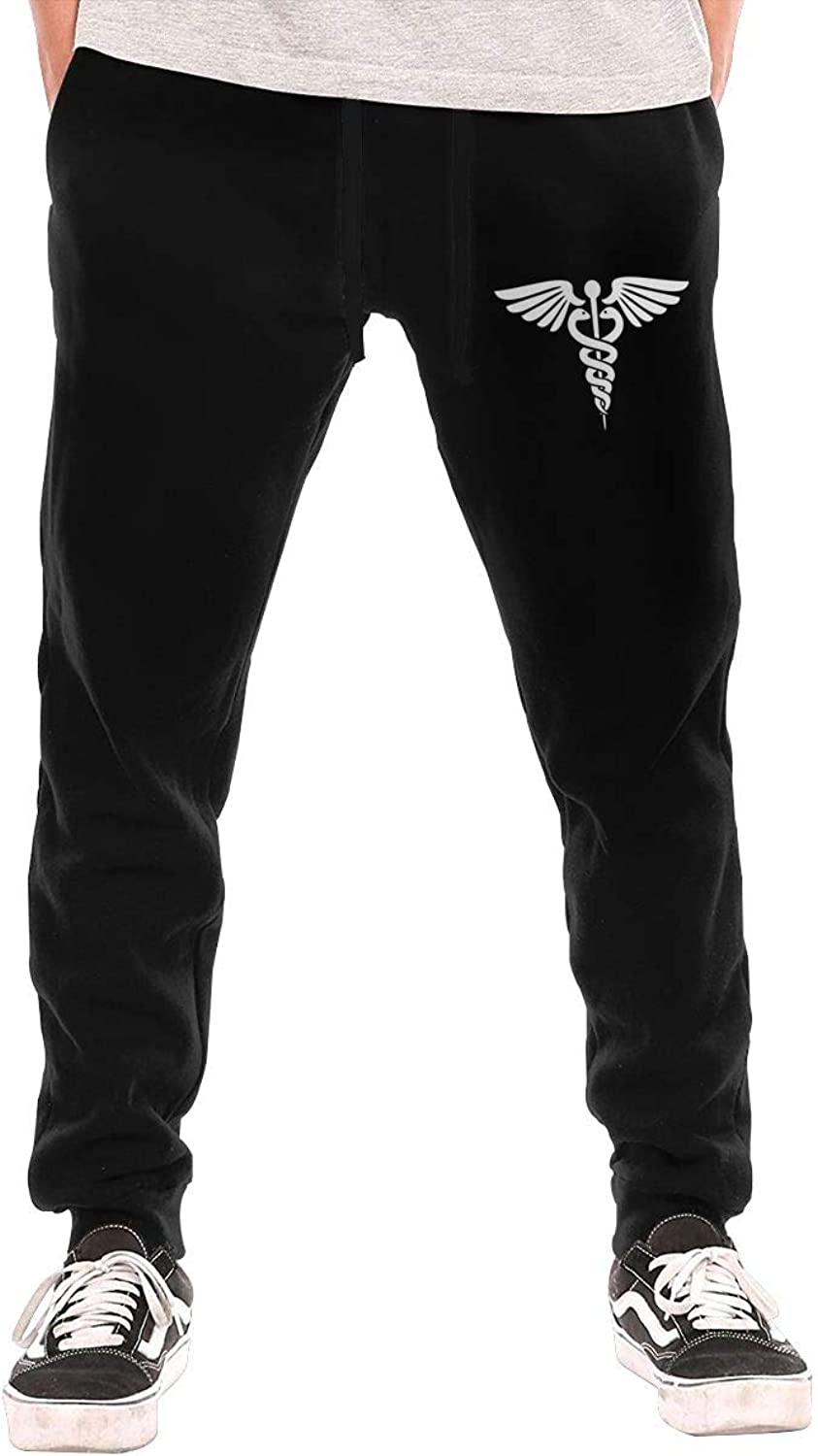 HUDIDEAR Caduceus Mens Fit Joggers Jersey Sweatpants for Gym Training
