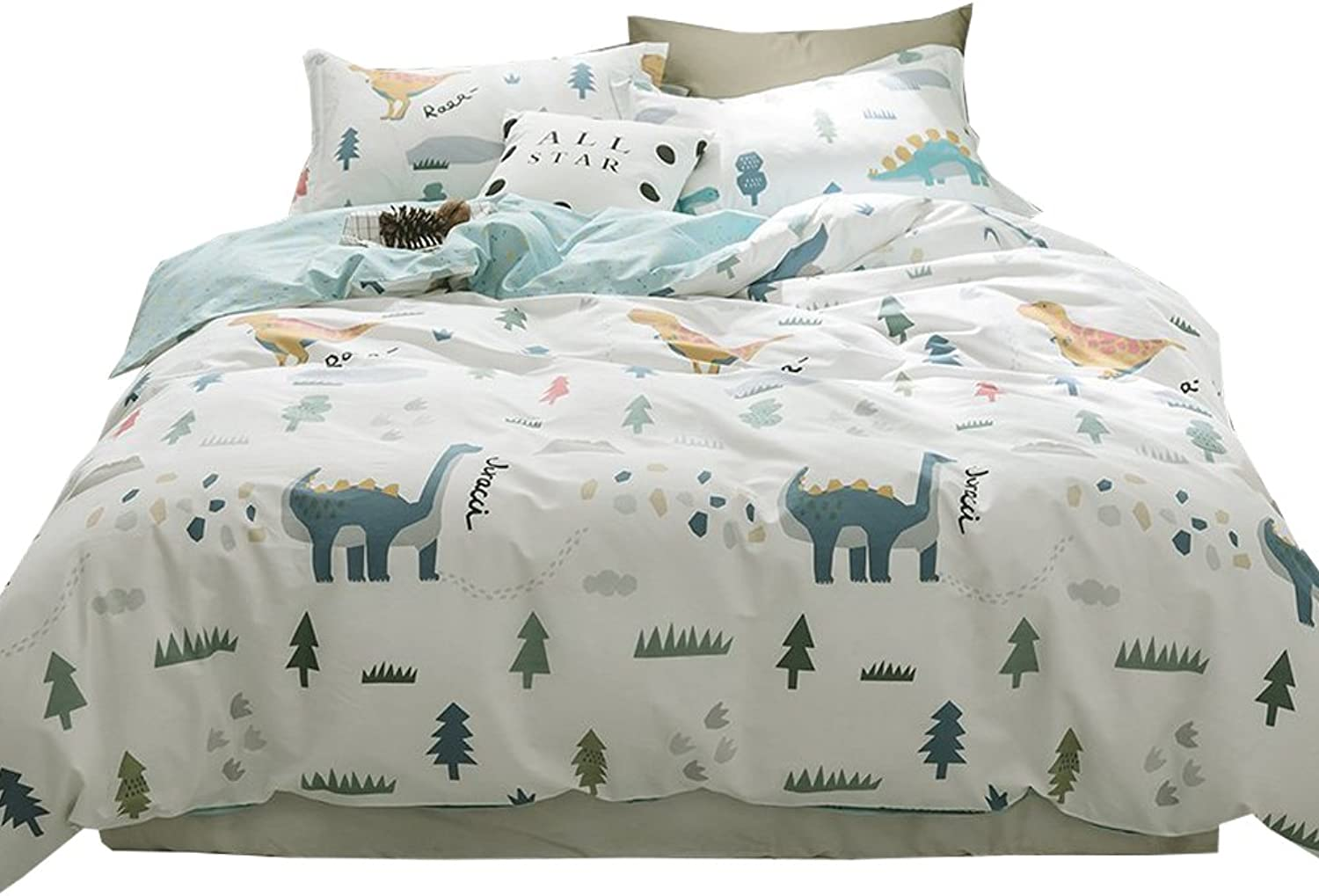 EAVD 100% Cotton Bedding Set Little Boy Reversible Cartoon Boys Teens 3PCS Cute Animal Printing Duvet Cover Soft with 2 Pollowcases, Dinosaur-C Comforter Covers Full Queen Size