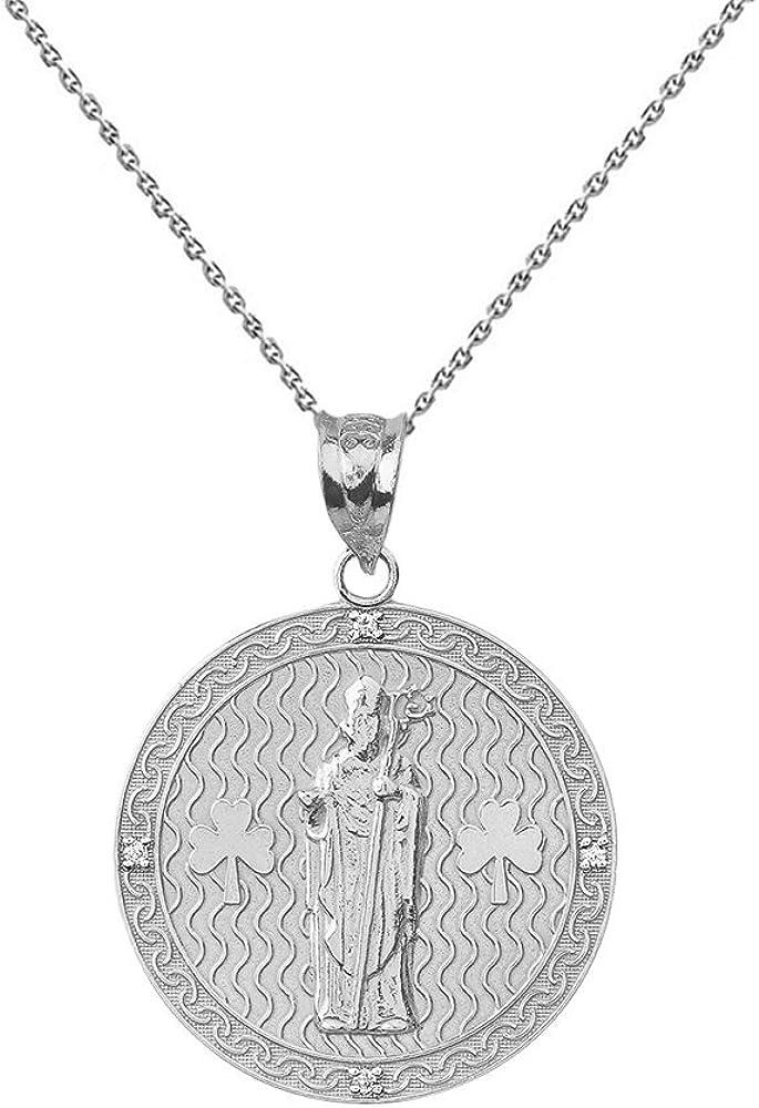 Sterling Under blast sales Silver Max 50% OFF Saint Patrick Shamrock Round CZ Medallion Medal