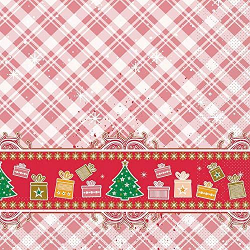 Sovie Home Serviette | aus Tissue 3-lagig | Weihnachts-Servietten Geschenke Tannenbaum Christmas | 33x33cm | 20 Stück | Joy (Rot)