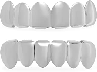 24k Gold or Rhodium Plated Removable Top & Bottom Teeth Grillz Set + Microfiber Jewelry Polishing Cloth