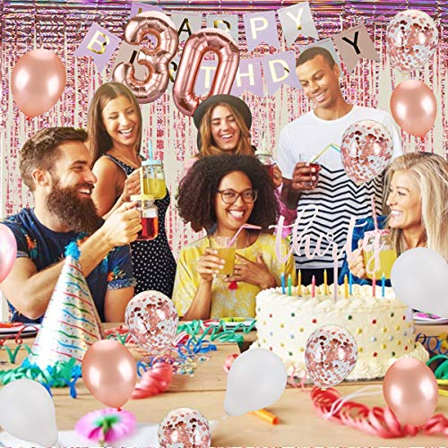 30th Birthday Decorations 30 Birthday Party Supplies 30 Cake Topper Rose Gold 30 Fabulous Glitter Satin Sash Rose Gold Confetti Balloons For Her Foil Fringe Curtains For Women 30th Birthday Party Buy Online In