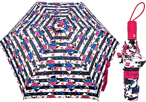 Betsey Johnson Designer Travel Umbrella (Blue/Pink Flower Stripe)