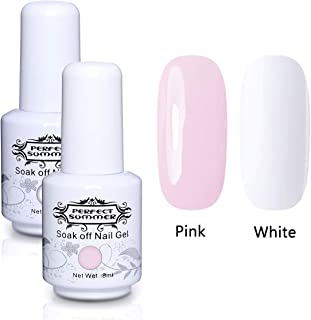 Perfect Summer 2PCS Gel Nail Polish Set Light Pink Color Pure White Colours Soak Off UV LED Manicure Home Gel French Nail Kit with Nail Tip Guides 8ML Kit12