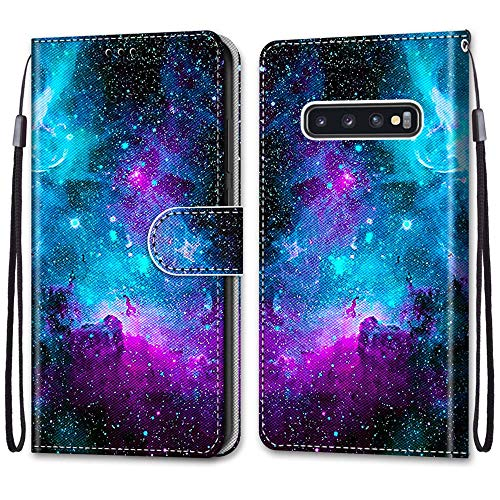 Nadoli Handyhülle Leder für Samsung Galaxy S10 Plus,Bunt Bemalt Lila Sternenhimmel Trageschlaufe Kartenfach Magnet Ständer Schutzhülle Brieftasche Ledertasche Tasche Etui