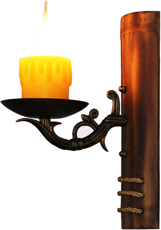 AMZH Korridor Aisle Kerze Wandleuchte Creative Schlafzimmer Retro Cafe Natürliche Bambus Lampe Harz Wandleuchte E14 110V-220V