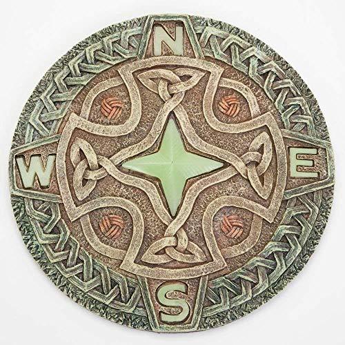 IUYJVR Celtic Compass Glow Garden Stone - Garden Décor Stone for Your Garden Or Lawn - Beautiful Glow-In-The-Dark Stone Makes Great Garden Art, 26Cm