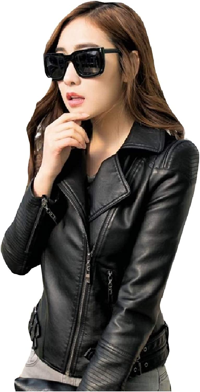 Coolhere Women Zipper Moto Oversized SlimFit Leather PU Jackets Coat