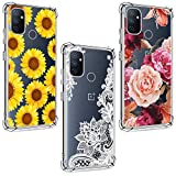 (3 Pack) for Oneplus Nord N100 Case, Shock-Absorption Anti-Scratch Crystal Clear Soft TPU Bumper Protective Phone Case Cover for Oneplus Nord N100, Purple Flower, Sun Flower, White Flower