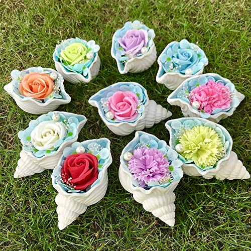 JYSS Savon Flower Gift Box Ceramic Conch Shell Creative Decoration Day of Mother's for Girlfriend Teacher's Day Soap Flower Model Trumpet No Packaging
