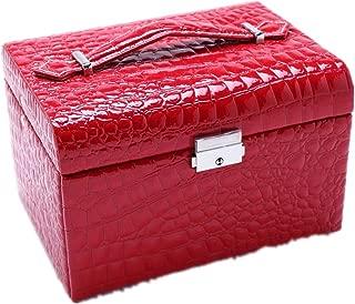 Multi-Layer Jewelry Box Jewelry Storage Box with Mirror Box(Red One Size)