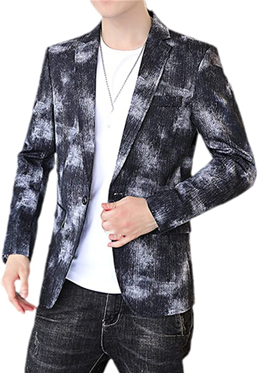 DFLYHLH Blue Denim Jacket Men's Fashion Slim Suit Jacket Spring and Autumn Tuxedo Jacket Gray Black Coat