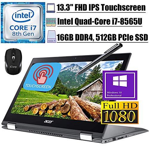 """2020 Premium Acer Spin 5 13 2 in 1 Laptop 13.3""""FHD IPS Touchscreen 8th Gen Intel Quad-Core i7-8565U up to 4.60 GHz 16GB DDR4 512GB PCIe SSD WiFi Webcam Stylus Pen Win 10 Pro + iCarp Wireless Mouse"""