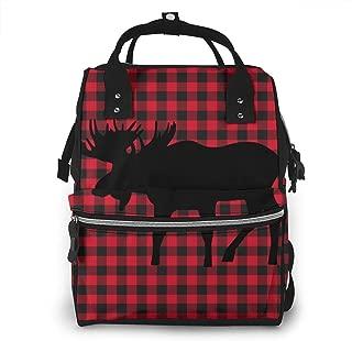 Buffalo Plaid Moose Lumberjack Diaper Backpack Travel Baby Nappy Bag Multi-Function Diaper Bag