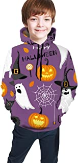 Cyloten Kid's Sweatshirt Cat Ghosts Halloween Novelty Hoodies Comfortable Warm Hooded Top Sweatshirt