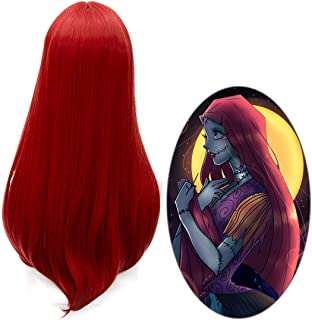 60cm Long Straight Red Center Part Halloween Cosplay Wigs, Red, Size One Size