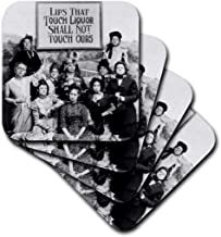 3dRose cst_46926_1 Lips That Touch Liquor-Prohibition Poster, Prohibition, Humor, Humour, Funny, Movie, Thomas Edison-Soft Coasters, Set of 4