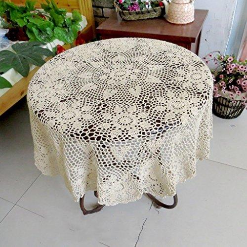 William 337 Runder Tischdecke Handmade Häkelblume Kleiner Couchtisch Continental Vintage Cotton Gewebe (Farbe : Beige, größe : Round-70cm)
