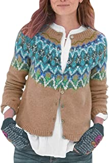 ✶ HebeTop ✶ Women Button Down Long Sleeve Knit Cropped Cardigans Crochet Sweater V Neck Ladies Short Vintage Printed Cardigan
