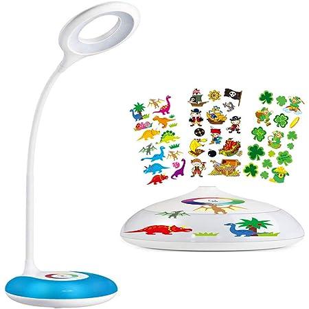 Lampe de bureau enfant, hihigou lampe pour bureau,LED Lampe de Chevet Dimmable,Veilleuse Ambiante,Niveaux de Luminosité Réglable,Couleurs Changeables base ,USB Rechargeable