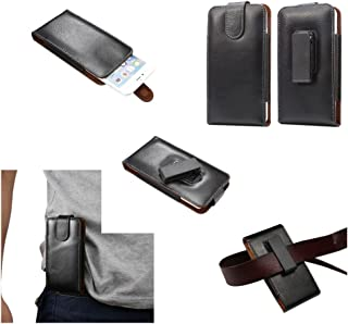 DFV mobile - Magnetic Genuine Leather Holster Executive Case Belt Clip Rotary 360º for Nokia Lumia 1520 - Black