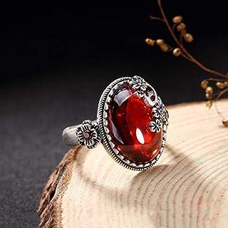 Lozse Anelli regolabili S990 argento intarsiato gioiello femminile atmosfera di lusso prugna fiore anello