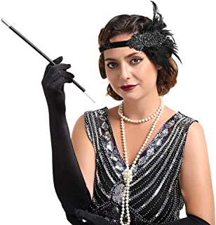 Zoestar Vintage Flapper Headband 1920s Feather Headpiece Gatsby Feather Headpiece Crystal with Beaded Hair Accessories for Women (Black)