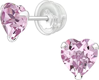 AUBE JEWELRY Hypoallergenic 925 Sterling Silver Heart Shaped Crystal Stud Earrings with Silicone Coated Push Backs Embelli...