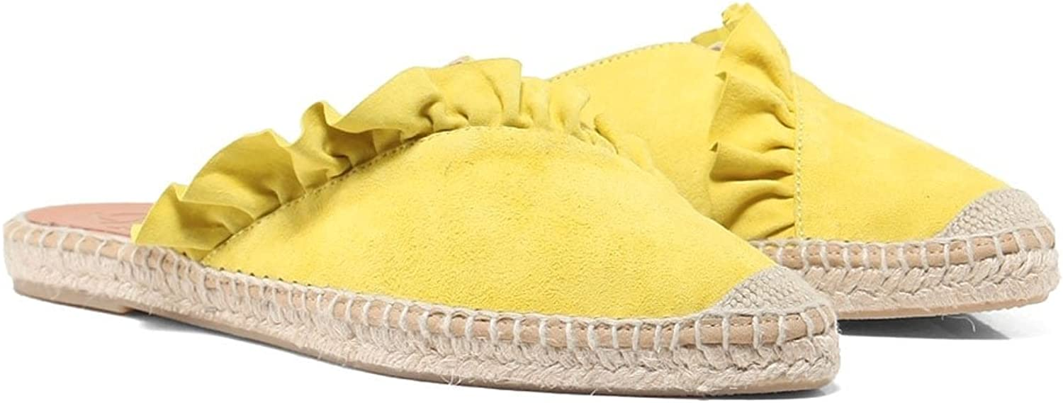 KANNA Women's Dyna Leather Ruffle Espadrilles Lime