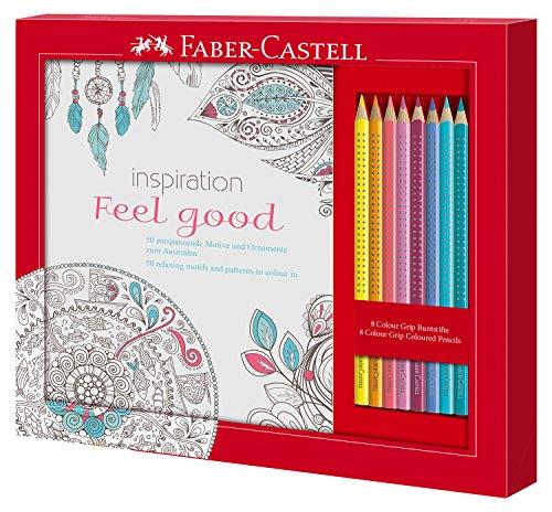 Faber-Castell 201434 - Ausmalset Feel Good mit 8 Colour Grip Buntstiften