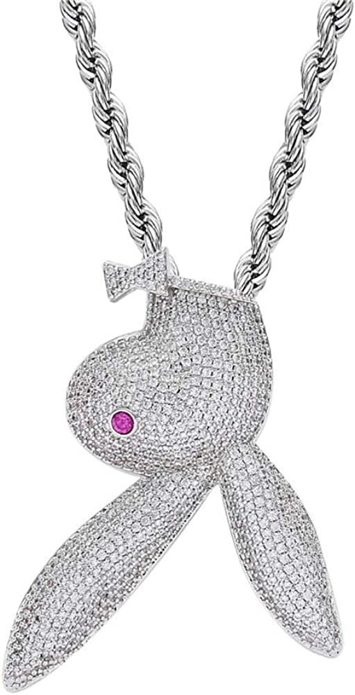 Fantex Shiny Lab Diamond Red Eye Bunny Pendant Necklace, Iced Out Zicon Rhinestone Rabbit with Miami Cuban Chain, 14K Gold Plated Hip Hop Jewelry for Men Women