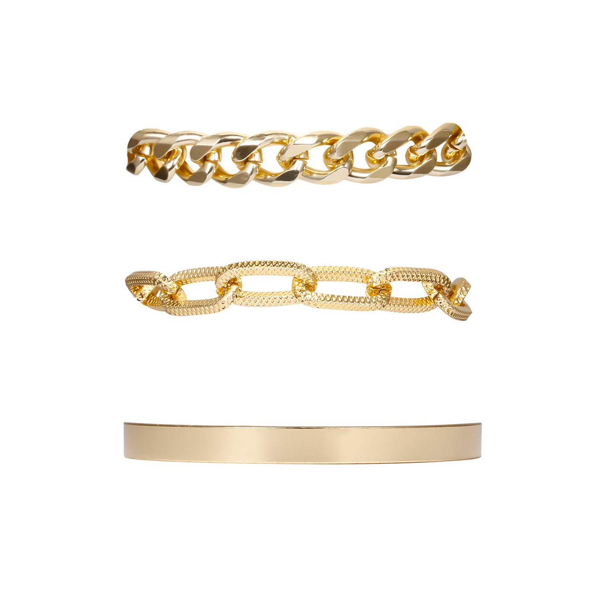 Aimimier 3Pcs Boho Layered Paperclip Link Chain Bracelet Set Chunky Cuff Wrap Bangle Prom Party Festival Statement Jewelry for Women and Girls (Gold)
