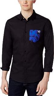Versace Mens Contrast Pocket Button Up Shirt, Black, 46