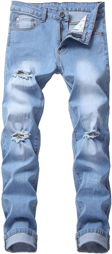 AKIMPE Men's Loose Fit Denim Pants Casual Solid Business Jeans Trouser