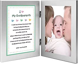 Gift for Godparents - Sweet Godchild Poem from Godson or Goddaughter for Baptism, Christmas or Birthday in Double Frame - Add Photo