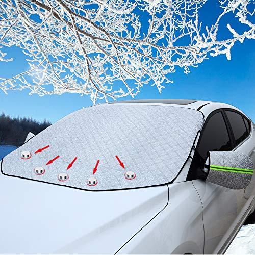 CCAUTOVIE Frontscheibenabdeckung Auto Scheibenabdeckung Windschutzscheibe Abdeckung Magnet Auto Abdeckung für Windschutzscheibe Gegen Schnee EIS Frost Staub Sonne Auto SUV Truck 157x126cm