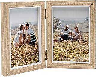 Afuly フォトフレーム 写真立て 縦型 Lサイズ シック 折りたたみ 木製 木の柄 プレゼント ギフト おしゃれ