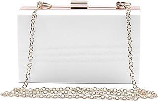 Syrads Damen Abend Clutches Handtasche Cross Body Clutch Case Geldbörse mit Kette,Weiß