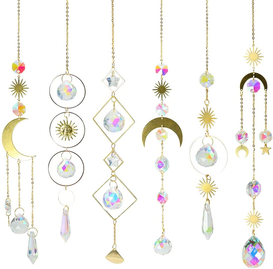 6Pieces Colorful Crystals Suncatcher Hanging Sun Catcher with Chain Pendant Ornament Crystal Balls for Window Home Garden Christmas Day Party Wedding Decoration
