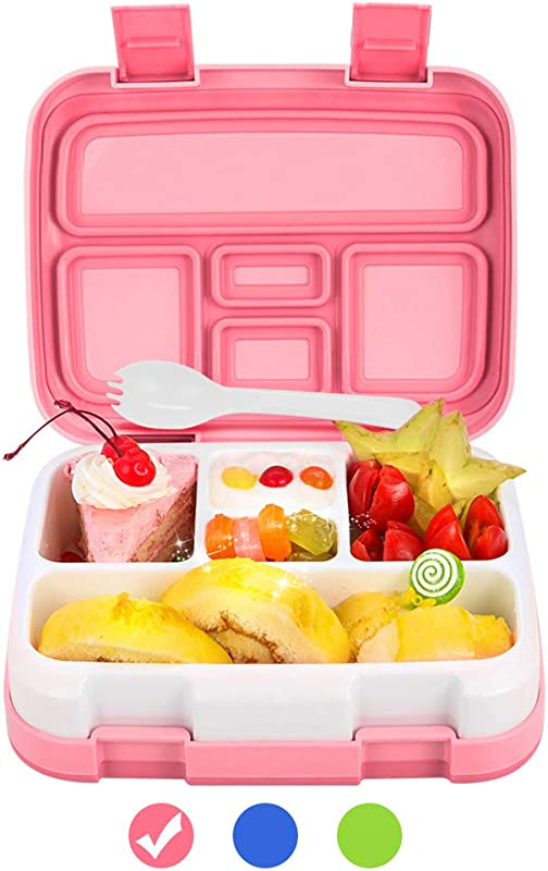 Lunch Box For Kids Bento Box BPA Free DaCool Upgraded Toddler School Lunch Container With Spoon 5 Compartment Leak Proof Durable Meal Fruit Snack Packing For Picnic Outdoors Microwave Safe Pink