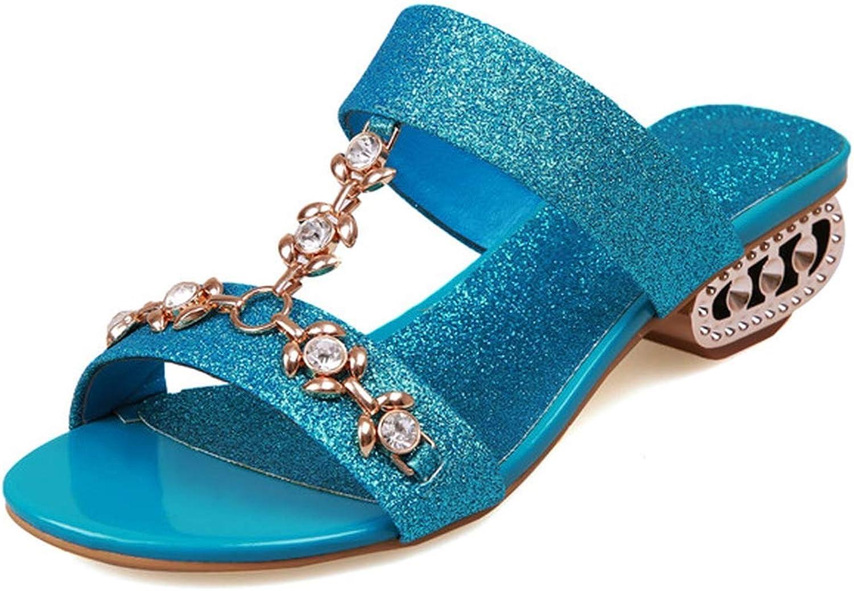 QDKM 35-43 Plus Size Slippers Female Women Slippers gold Silver bluee