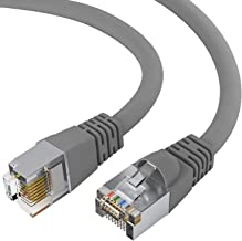 GOWOS Cat5e Shielded Ethernet Cable (50 Feet - Gray) 24AWG Network Cable with Gold Plated RJ45 Snagless/Molded/Booted Connector - High Speed LAN Internet/Patch Cable for PC/PS4/Xbox